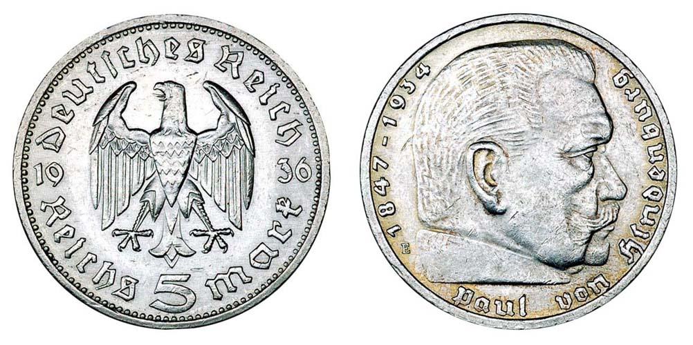 Германия 5 марок 1933-1939