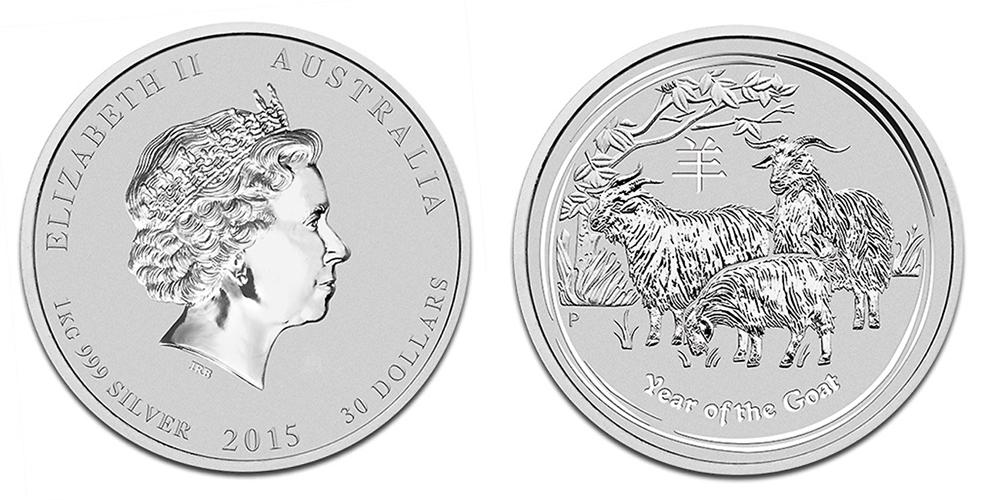Иностранные Серебряные монеты весом в 1 килограмм