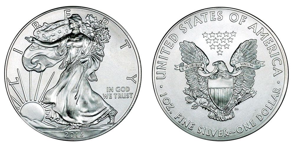 Иностранные Серебряные монеты весом в 1 унцию