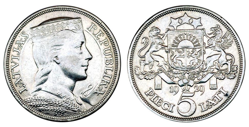 Латвия 5 латов 1929-1932