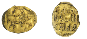 Золотая монета древней Руси