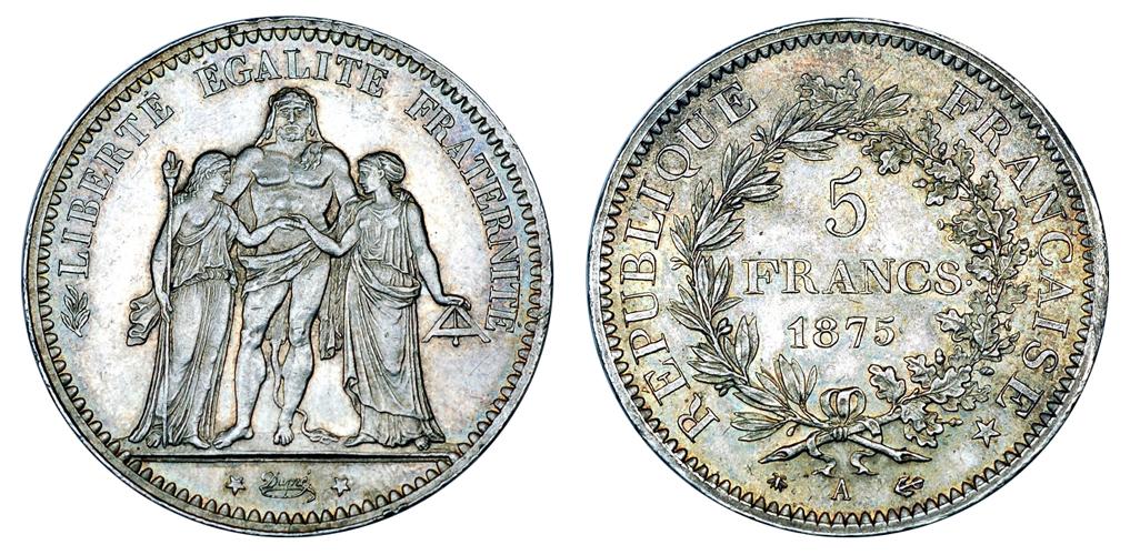 Швейцария, Франция, Бельгия 5 франков до 1928 г.