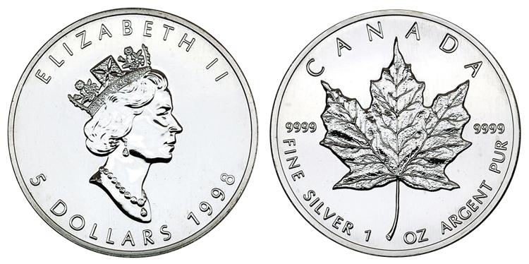 Канада 5 долларов 1998