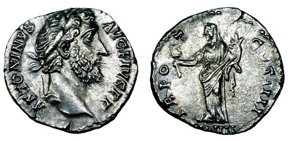 Рим Денарий Антонина Пия (138-161 гг. н.э.), серебро E30-45