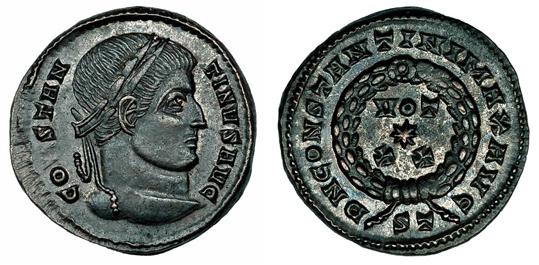 Рим Фоллис Константина I Великого (306-337 гг. н.э.), бронза E8-12