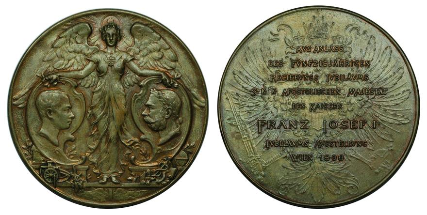 Австрия Медаль Выставка, посвящённая 50-летию правления Франца Иосифа I 1898 (бронза, диаметр 63 мм), цена 20-25 евро