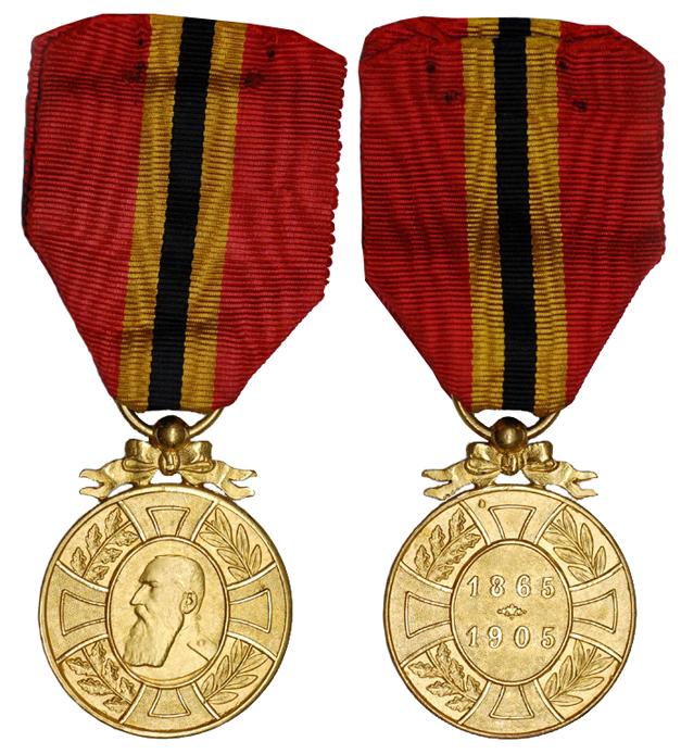 Бельгия Медаль В память о 40-летии правления Леопольда II (бронза с позолотой, диаметр 33 мм), цена 5.5-7 евро