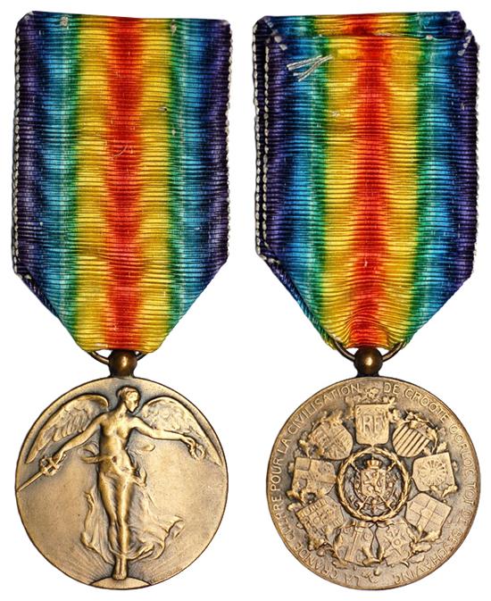 Бельгия Медаль Победителя Первой мировой войны (бронза, диаметр 36 мм), цена 5-6 евро