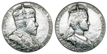 Великобритания Жетон Коронация Эдуарда VII 1902 (серебро, диаметр 31 мм), цена 13-16 евро