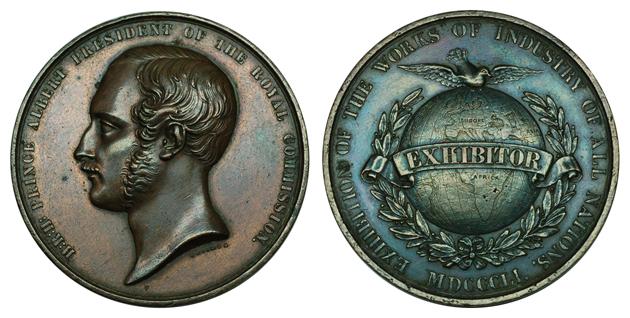 Великобритания Медаль Принц Альберт - Всемирная промышленная выставка 1851 (бронза, диаметр 45 мм), цена 26-32 евро