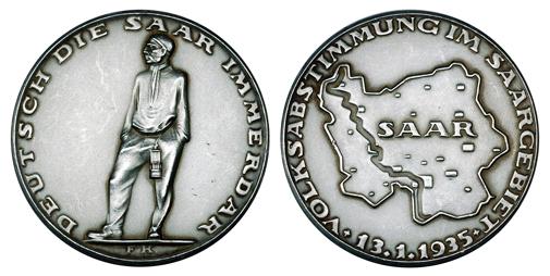 Германия Медаль В память о плебисците о присоединении Саара 1935 (серебро, диаметр 36 мм), цена 16-20 евро