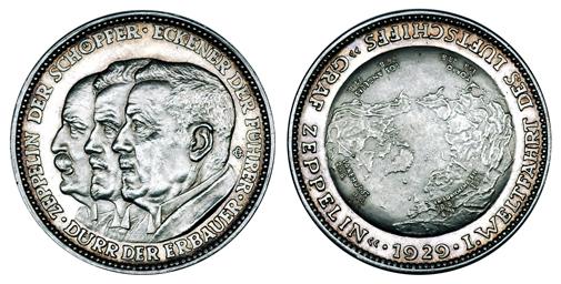 Германия Медаль Кругосветный перелёт на дирижабле - Ф. Цеппелин, Л. Дюрр и Х. Экенер 1929 (серебро, диаметр 36 мм), цена 35-40 евро