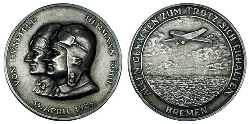 Германия Медаль Трансатлантический перелёт - Хюнефельд и Кёль 1928 (серебро, диаметр 36 мм), цена 25-30 евро