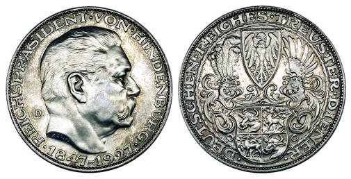 Германия Медаль 80 лет президенту П. фон Гинденбургу 1927 (серебро, диаметр 36 мм), цена 20-25 евро