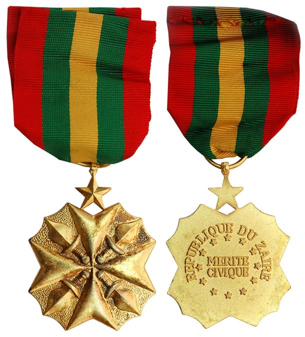 Заир Медаль За гражданские заслуги (бронза с позолотой, 37 Х 45 мм), цена 6-7.5 евро