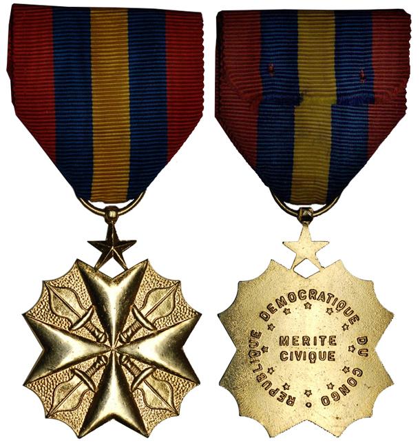 Конго Медаль За гражданские заслуги (бронза с позолотой, 37 Х 45 мм), цена 6-7.5 евро
