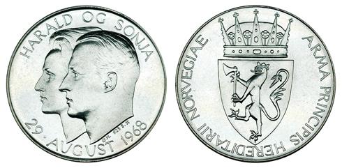 Норвегия Медаль Свадьба принца Харальда и Сони Харальдсен 1968 (серебро, диаметр 35 мм), цена 10.5-13 евро
