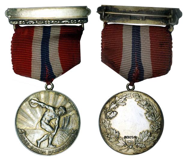 Норвегия Медаль Чемпионат северной Норвегии по атлетике (серебро, диаметр 31 мм), цена 9.5-12 евро