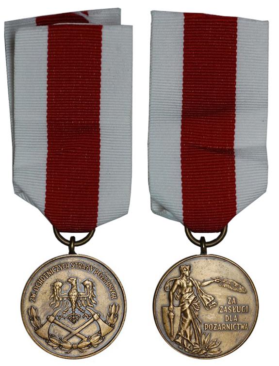 Польша Медаль За заслуги для пожарных 3-ей степени (бронза, диаметр 32 мм), цена 3-3.5 евро
