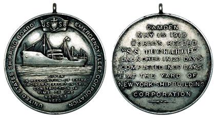 США Медаль За экстраординарные усилия в кораблестроении 1918 (серебро, диаметр 30 мм), цена 20-25 долларов