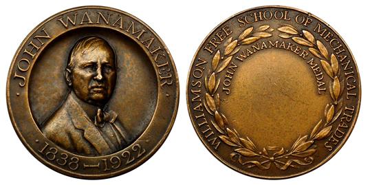 США Медаль Училища механических ремёсел г. Уильямсон - Дж. Уонамейкер (бронза, диаметр 38 мм), цена 5.5-6.5 долларов