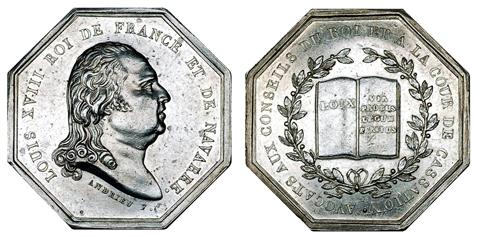 Франция Жетон Королевского совета адвокатов 1814-1824 (серебро, 34 Х 34 мм), цена 30-37 евро