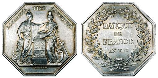 Франция Жетон Основание Банка Франции 1800 (серебро, 36 Х 36 мм), цена 17-21 евро