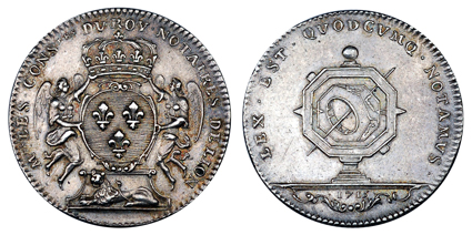Франция Жетон Совета нотариусов города Лион 1715 (серебро, диаметр 30 мм), цена 16-20 евро