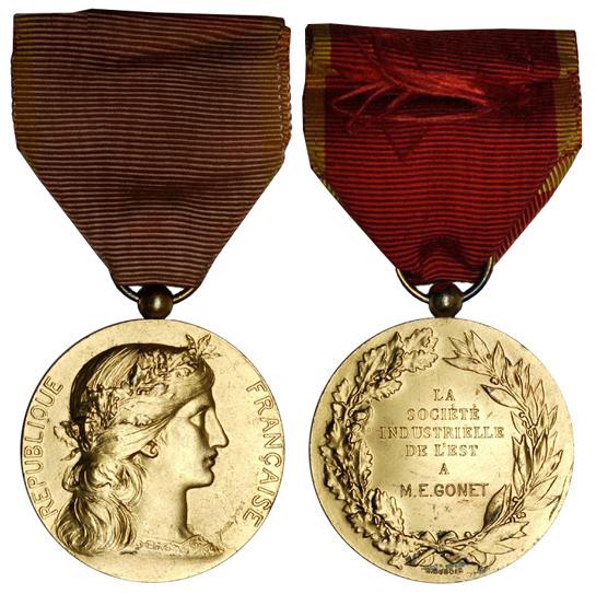 Франция Медаль Восточного Индустриального общества (серебро с позолотой, диаметр 36 мм), цена 15-19 евро