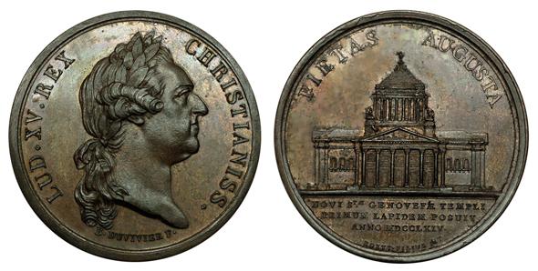 Франция Медаль В память о закладке первого камня при перестройке церкви Св. Женевьевы (Пантеона) 1764 (бронза, диаметр 42 мм), цена 26-32 евро