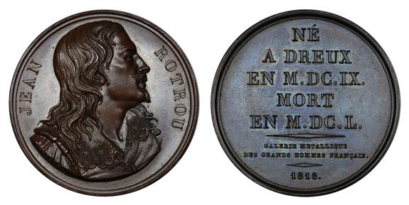 Франция Медаль Драматург Жан Ротру 1818 (бронза, диаметр 41 мм), цена 17-22 евро