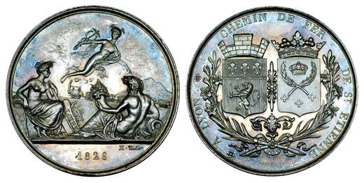 Франция Медаль Железная дорога из Лиона в Сент-Этьен 1826 (серебро, диаметр 37 мм), цена 32-40 евро