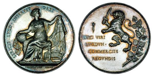 Франция Медаль Торговой палаты города Лион (серебро, диаметр 38 мм), цена 27-33 евро