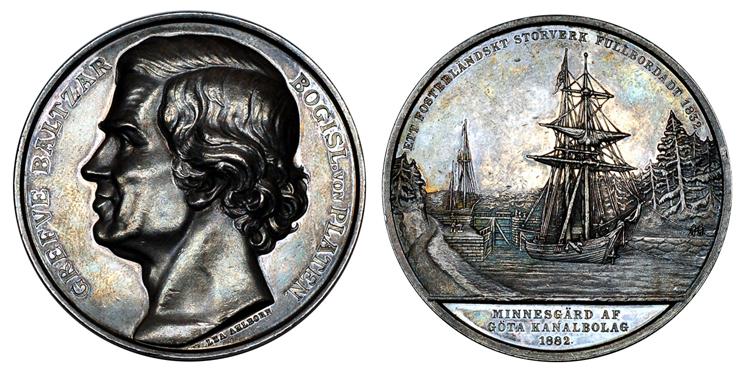 Швеция Медаль Граф Бальтзар фон Платен - 50 лет открытия Гёта-канала 1882 (серебро, диаметр 53 мм), цена 55-70 евро