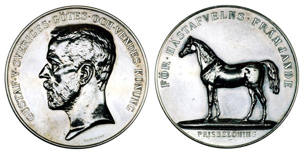 Швеция Медаль За достижения в коневодстве (серебро, диаметр 43 мм), цена 17-21 евро