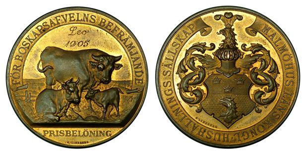 Швеция Медаль Сельскохозяйственной выставки в городе Мальмо (бронза, диаметр 44 мм), цена 10-12.5 евро