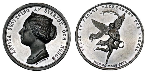 Швеция Медаль Смерть королевы Луизы 1871 (свинцово-оловянный сплав, диаметр 44 мм), цена 13-16 евро
