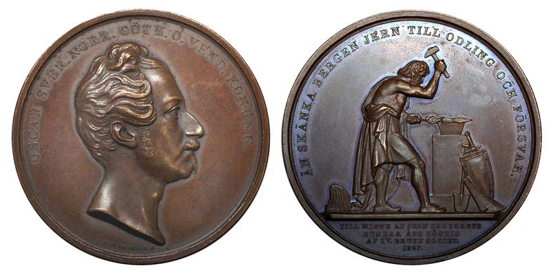 Швеция Медаль 100 лет шведской ассоциации производителей железа 1847 (бронза, диаметр 57 мм), цена 30-37 евро