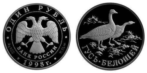 Россия 1 рубль 1998 СПМД Красная книга – Гусь-белошей