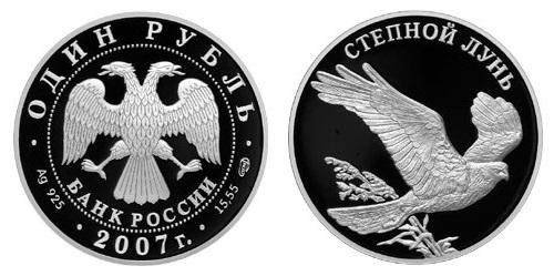 Россия 1 рубль 2007 СПМД Красная книга – Степной лунь