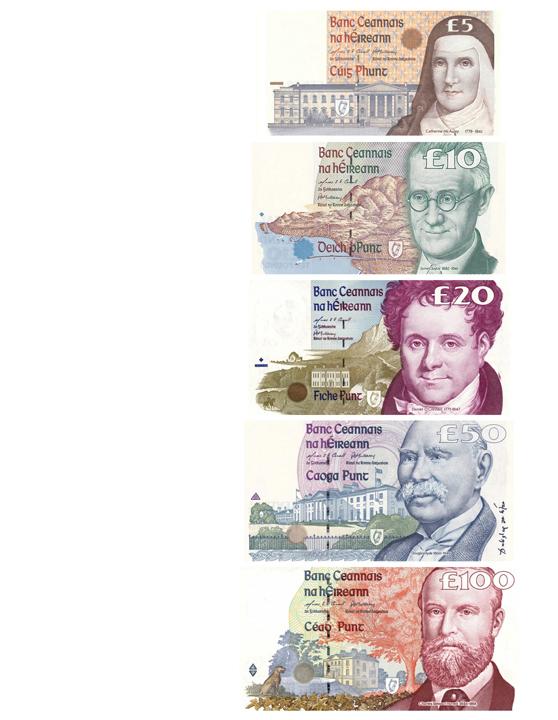 Ирландские фунты банкноты