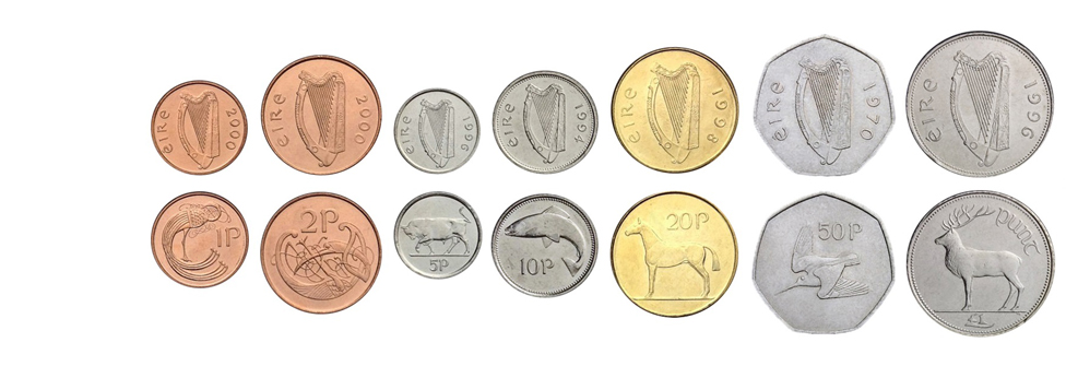 Ирландские фунты монеты