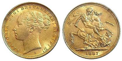 Австралия Соверен Виктории 1887 монетного двора Сидней