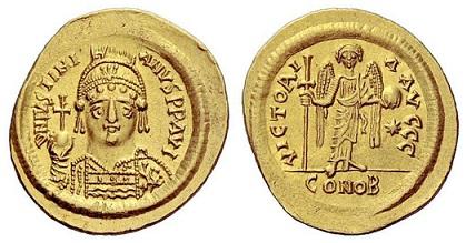 Византия Солид Юстиниана I 538-545 около 4.2 г