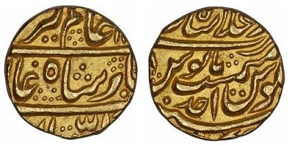 Индия Мохур падишаха Империи Моголов Аламгира II, 1754-1759 (около 10.90 г)