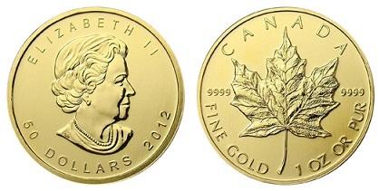 Канада 50 долларов 2012, кленовый лист (1 унция = 31.10 г 999 пробы)