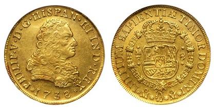 Мексика 8 эскудо испанского короля Филиппа V, 1738, монетный двор Мехико (27.07 г, 917 пробы)