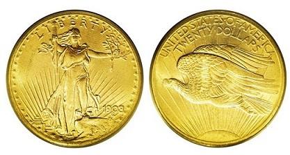 США 20 долларов 1908, тип, разработанный О. Сент-Годенсом (33.44 г, 900 пробы)