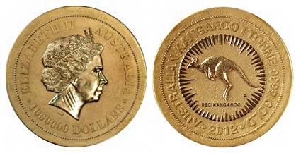 Самая большая золотая монета в мире Австралия 1,000,000 долларов 2012 1 тонна золота