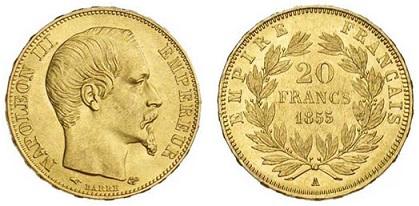 Франция 20 франков, Наполеондор, Наполеона III 1855 (6.45 г, 900 пробы)